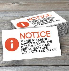 mailback notice